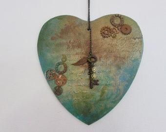 Steampunk Copper Patina Heart Panel