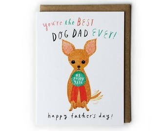 Father's Day Card, Funny Father's Day Card, Dog Lover Greeting Card, Funny Greeting Cards, 4.25x5.5, A2, Brush Lettering, Cute Dog Drawing