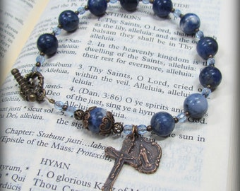 Catholic Rosary Bracelet with Blue Sodalite and Bronze medals