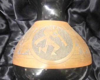 Vintage Artist Signed Hopi Native American Indian Art Pottery Vase Carved