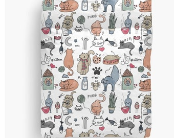 Funny Cats Pattern Duvet Cover or Comforter Personalized - Twin Full Queen King - Kids bedding Bedroom Women Girls Boys Gift Dorm Cottage