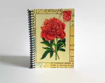 Red Carnation Notebook - Spiral Bound A6