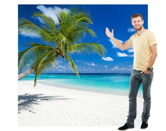 Tropical Beach Cardboard Cutout Backdrop
