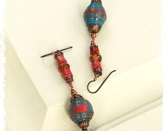 Long boho tribal earrings, Bohemian earrings for women, Boho chic earrings for her, Gypsy earrings, Funky boho long beaded earrings handmade