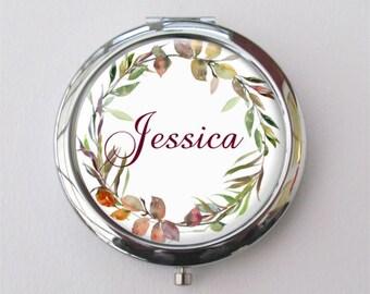 Herbst Hochzeit, Brautjungferngeschenke, personalisierte Taschenspiegel