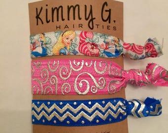 Alice in wonderland elastic hair ties. Kid hair ties, birthday party favors,