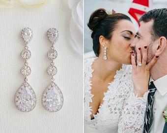 Bridal Earrings Crystal Long Wedding Earrings Teardrop Rose Gold Drop Earrings Gold Earrings Wedding Jewelry Bridal Jewelry, Evana