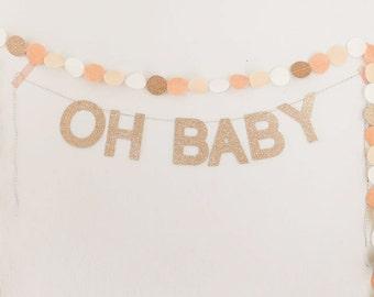 Custom ROSE GOLD glitter word garland and felt circle garland in white, blush, peach, & rose gold.  Custom name garland. Word or name banner