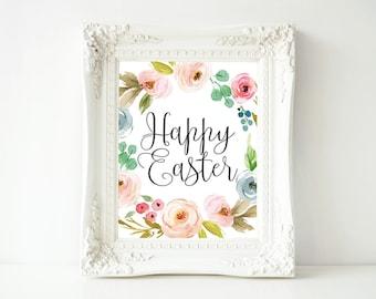 Easter Printable Wall Art, Happy Easter printable art, Easter decor, Easter art, He is Risen wall decor, Spring printable digital art print