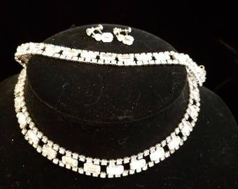 Vintage Prong Set Rhinestone Parure, Choker Necklace, Bracelet, Screw Back Earrings, ca 1950s