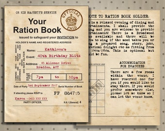 1940s British UK Ration Book Invitation, 40th Birthday Invite, 1940s Style Party Invitation, 1940s Theme Wedding Ideas, Darkest Hour Party