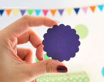 50 scalloped circles (2 inches) Textured Cardstock Die Cut A160