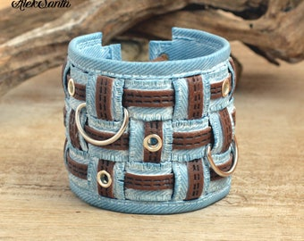 Boho bracelet Cuff bracelet denim bracelet Hippie bracelet Light blue bracelet Chunky bracelet Everyday bracelet Polymer clay jewelry .nsm