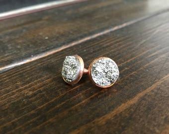 Rose Gold / Silver Resin 14mm Stud Earrings