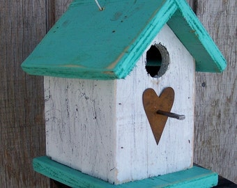 Country Rustic Wooden Songbird Birdhouse White Turquoise Chickadee Wren Cute Primitive Rusty Heart Handmade Hanging Birdhouse
