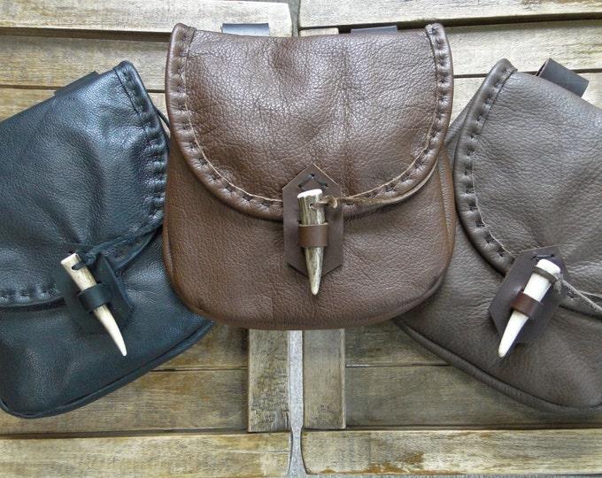 Medieval Leather Pouch, Renaissance Bag, Deer Antler Point Closure, Large - The WOODSMAN
