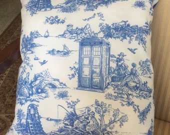 Whovian throw pillow, couch pillow featuring a Dalek or Weeping Angel and the Tardis, blue and white,14 by 15 inches