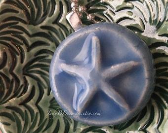 Pendant Stoneware Starfish Ceramic Sky Blue Necklace Ready to Ship Great Stocking Stuffer PNT0020