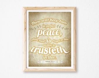 "PERFECT PEACE PRINT, Scripture Print, Religious Gift, Bible Art, Christian Wall Art, Digital Art, House, Jesus, Faith, 8x10"" and 8.5x11""."