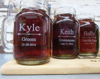 Groomsmen Gift - 6 Personalized Mason Jars