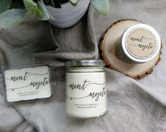 mint mojito - hand poured soy candle