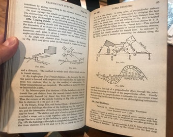 1942 Leather Bound Short Course in Surveying . Antique book . Vintage book . Rare book . Book decor