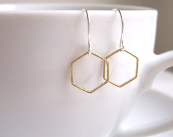 Delicate Honeycomb hexagon earrings - mixed metals golden brass and silver - geometric