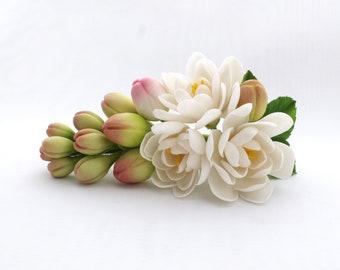 Tuberose barrette, bridal barrette, flower barrette, polymer clay tuberose, polymer clay barrette, hair accessories