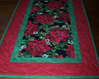 Bright Pointsettia, quilted table runner, large, red and green Christmas, holiday
