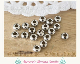 10 pearls 5mm steel stainless 5x3mm
