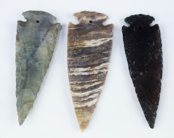 """4"""" DRILLED Agate Arrowheads Whole Stone Knapped Arrowhead Spear Point Reproductions"""