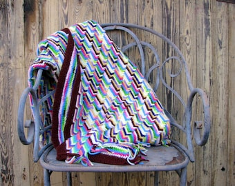 pretty terrific eclectic vintage blanket -- colorful knit afghan throw