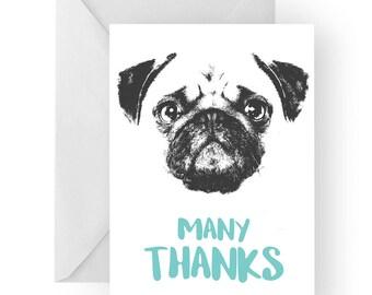 Pug thank you card- Pug greeting card, dog card,Pug thank you card, Pug gift, thankyou card, pug gift card, pug dog, pug gift idea
