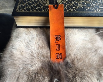 Personalized Monogram Leather Bookmark