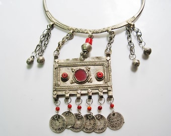 Unique Statement Necklace, Tribal Choker, Bedouin Pendant, Coin necklace, Indian Neck Ring
