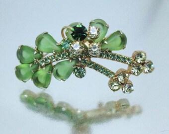Juliana D&E Green Rhinestone Double Brooch Pin Vintage