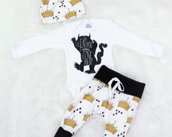 Where the wild things are baby/I love you so I'll eat you up/I love you so outfit/max monster/crown pants/birthday/ coming home outfit