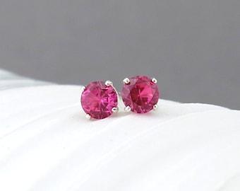 Ruby Stud Earrings Tiny Silver Stud Earrings Ruby Earrings July Birthstone Jewelry Silver Post Earring Birthday Gift for Her Simple Jewelry