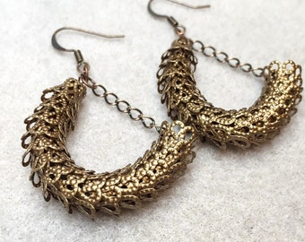 Lacy Dragon Scale Earrings in Antique Copper