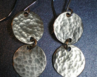 Hammered Dangles Earrings - Solid Sterling Silver