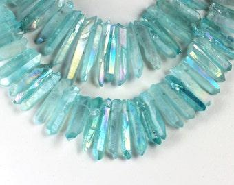 Titanium Quartz Beads, Metallic Teal, Crystal Points, Stick Beads, Mixed Size, 22mm to 35mm, FIVE Quatz Points, Loose Gems Pink Metallic KJ