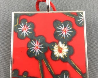 Red japanese cherry blossom pendant
