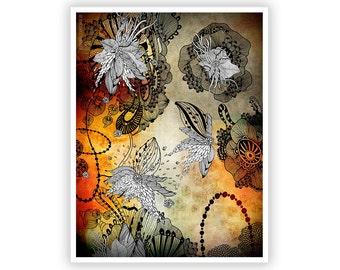Nightplay by Iveta Abolina -  Floral Illustration Print