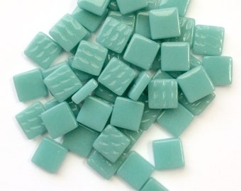 "12mm (1/2"") Light Teal Recycled Glass Square Mosaic Tiles//Mosaic Supplies//Craft Supplies"