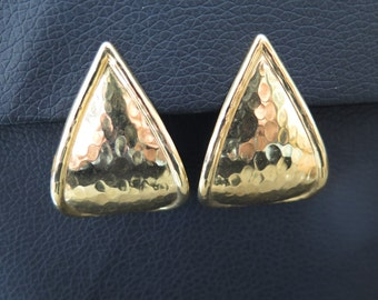 Vintage Gold Plated Hammered Metal Clip On Earrings - 1980s