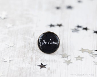 Je t'aime ring, Black Text Ring, Type Ring, Word Ring, Message Ring, Romantic Jewelry, Inspirational Jewelry, Valentine's jewelry