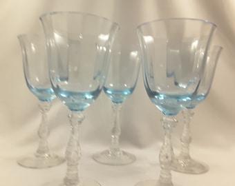 Signed Fostoria Cordial Glasses;  Vintage Vaseline glass cordials; Blue Crystal Cordial Glasses