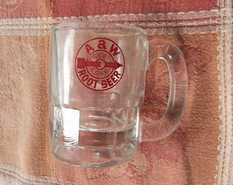 "Vintage Glass ""Baby Beer"" Mug, Featuring the A & W Root Beer Bullseye Logo - made by Anchor Hocking - 1950's"