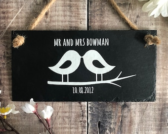 Personalised wedding gift. Mr and Mrs sign, Personalized wedding, Slate sign,  Mr and Mrs , Wedding gift, Wedding present , Lovebirds plaque