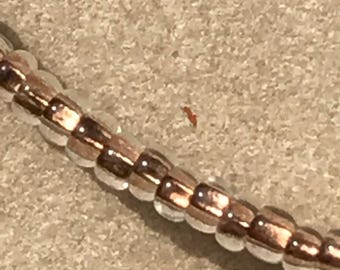 Handmade Minimalist Necklace with size 11/0 Copper Lined Crystal Round Seed Beads and Magnetic Clasp